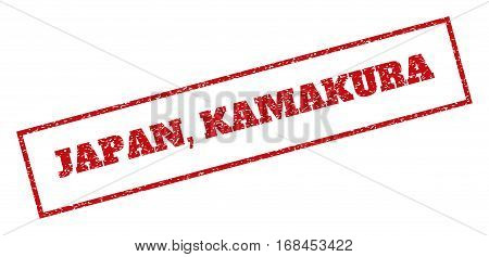Red rubber seal stamp with Japan, Kamakura text. Vector message inside rectangular frame. Grunge design and dirty texture for watermark labels. Inclined sticker.