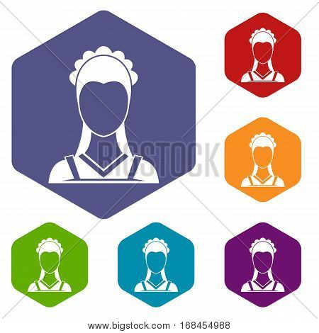 Maid icons set rhombus in different colors isolated on white background