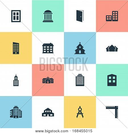 Set Of 16 Simple Architecture Icons. Can Be Found Such Elements As Structure, Residence, Floor And Other.