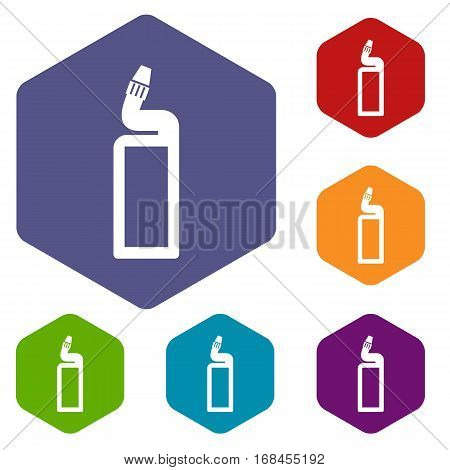 Plastic bottle of drain cleaner icons set rhombus in different colors isolated on white background