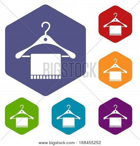 Scarf on coat hanger icons set rhombus in different colors isolated on white background