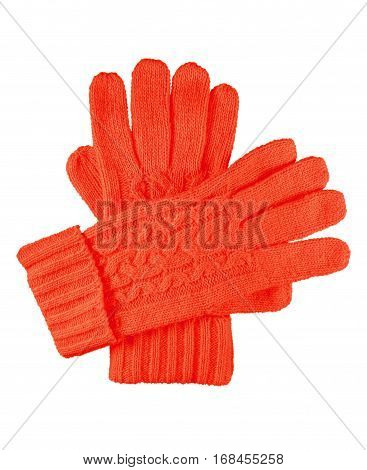 Red woolen gloves isolated on white with Clipping Path