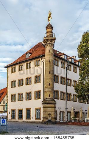 Old building with Mercury column in Stuttgart city center Germany