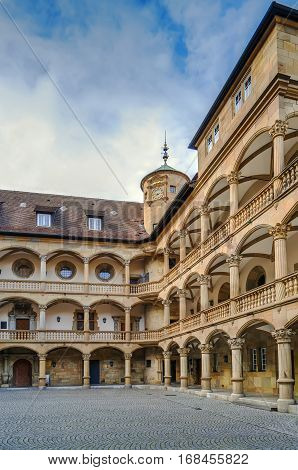 Courtyard of the Old Castle decorated with arcades Stuttgart Germany