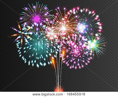 Salute - vector isolated on black background. Festive Firework.