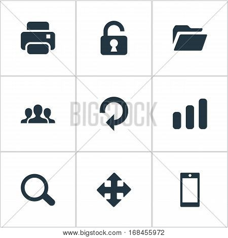 Set Of 9 Simple Practice Icons. Can Be Found Such Elements As Printout, Arrows, Refresh And Other.