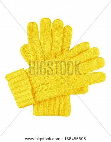 Yellow woolen gloves isolated on white with Clipping Path