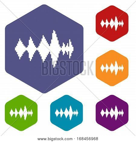 Audio digital equalizer technology icons set rhombus in different colors isolated on white background