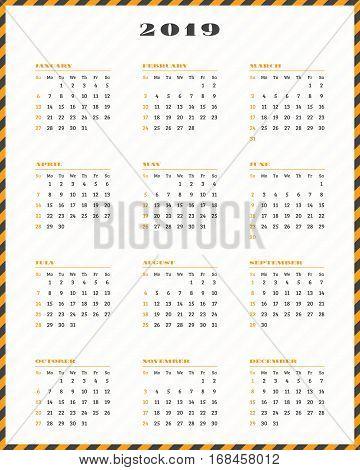 Calendar For 2019 Year. Week Starts Sunday. Vector Illustration