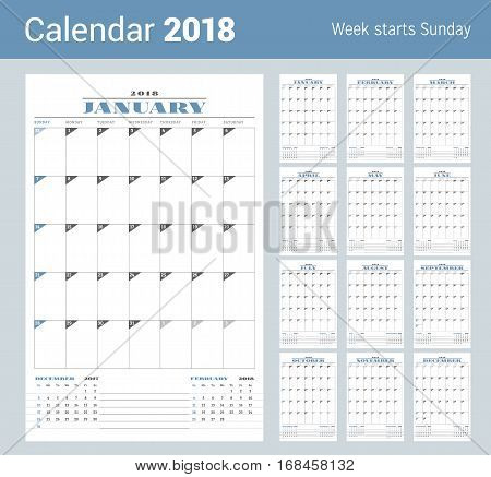 Calendar Template For 2018 Year. Set Of 12 Months. Business Planner Template. Stationery Design. Wee