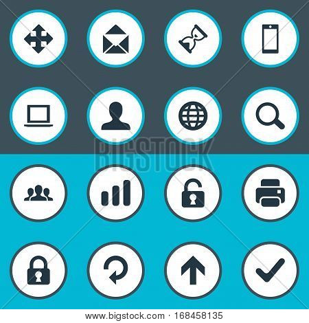 Set Of 16 Simple Application Icons. Can Be Found Such Elements As Upward Direction, Check, Open Padlock And Other.
