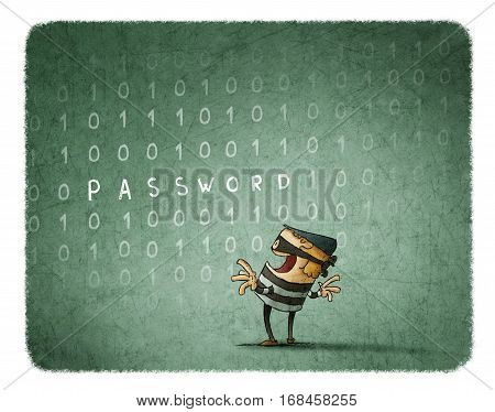 Internet Theft Concept. Thief steals the password of a background with binary numbers.