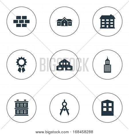 Set Of 9 Simple Architecture Icons. Can Be Found Such Elements As School, Residential, Block And Other.