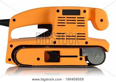 electrical belt grinding machine on white background