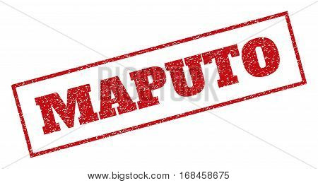 Red rubber seal stamp with Maputo text. Vector caption inside rectangular banner. Grunge design and dirty texture for watermark labels. Inclined emblem.
