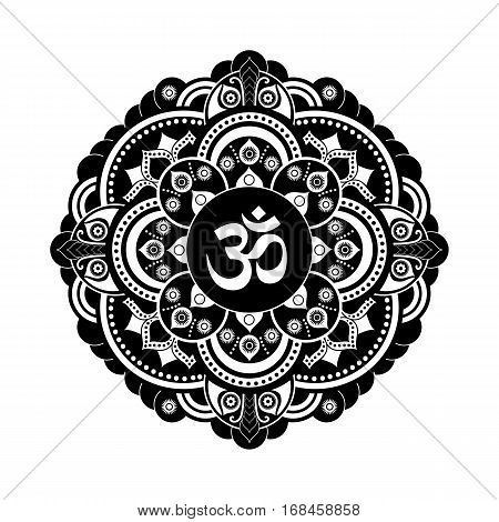 Black and white vector henna tatoo mandala. OM decorative symbol. Mehndi style