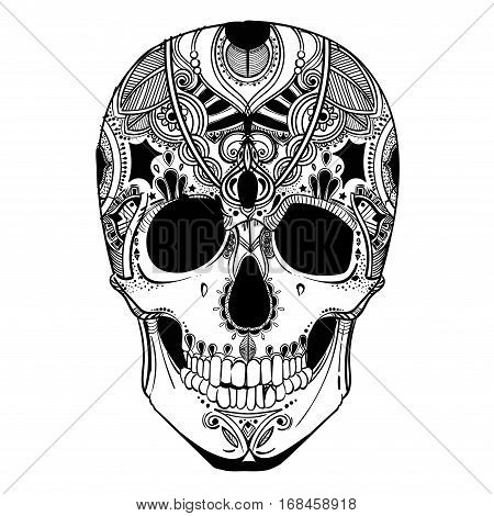 human skull with decorative elements. vector illustration