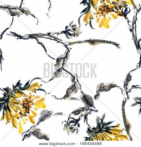 Watercolor and ink illustration of sunflowers in style sumi-e u-sin. Oriental traditional painting. Seamless pattern.