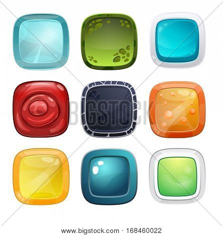 Set of different buttons for games or web design and applications