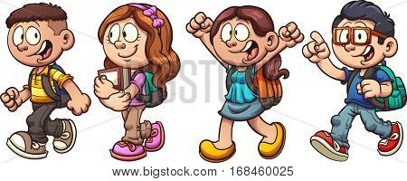 Cartoon school kids walking. Vector clip art illustration with simple gradients. Each on a separate layer.