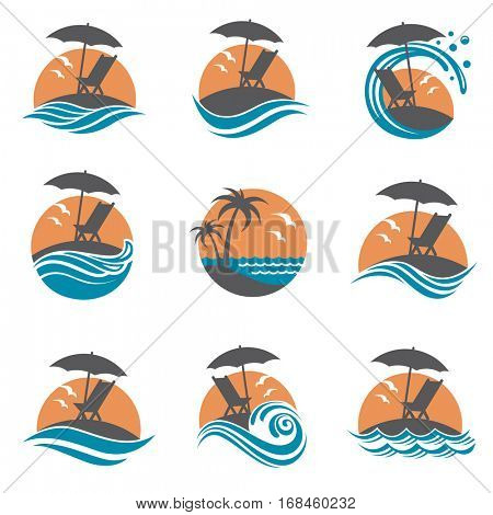 emblems collection of summer vacation with reclining chair and umbrella on island. Vector illustration
