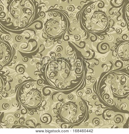 Seamless brown floral vintage pattern.
