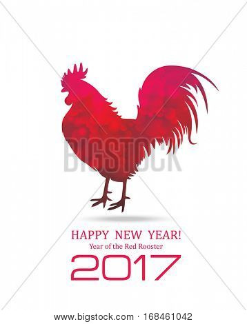 Red Rooster. New Year Greeting Card with Symbol of 2017 on the Chinese Calendar. Fire Cock.