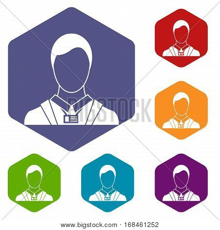 Businessman with identity name card icons set rhombus in different colors isolated on white background