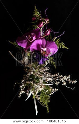 Unusual Violet Boutonnieres With Orchids On Black Background For Gorgeous Wedding Ceremony