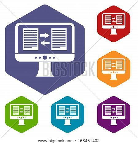 Translator app on the screen of computer icons set rhombus in different colors isolated on white background