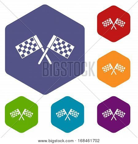 Crossed chequered flags icons set rhombus in different colors isolated on white background