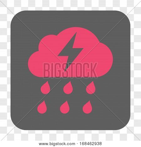 Thunderstorm interface toolbar button. Vector icon style is a flat symbol inside a rounded square button pink and gray colors chess transparent background.