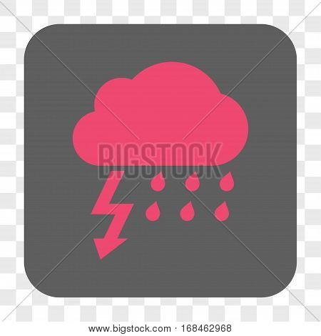 Thunderstorm interface toolbar button. Vector icon style is a flat symbol in a rounded square button pink and gray colors chess transparent background.