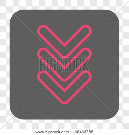 Triple Pointer Down interface toolbar button. Vector icon style is a flat symbol inside a rounded square button pink and gray colors chess transparent background.