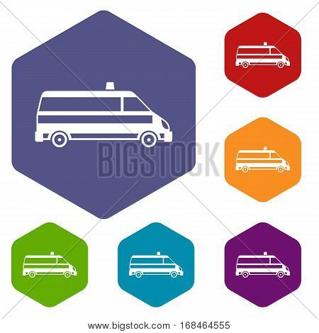 Ambulance car icons set rhombus in different colors isolated on white background