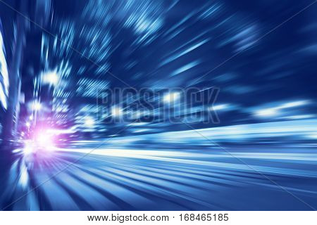 Toned image of night lights with motion blur in the city.