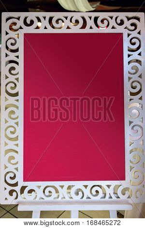 Stylish Empty Board For Guest List, Menu Or Photobooth, Advertising Concept