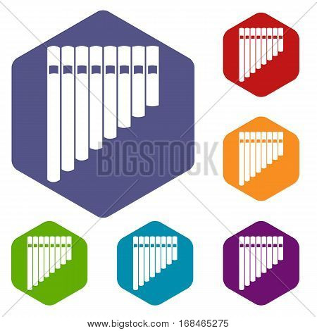 Pan flute icons set rhombus in different colors isolated on white background