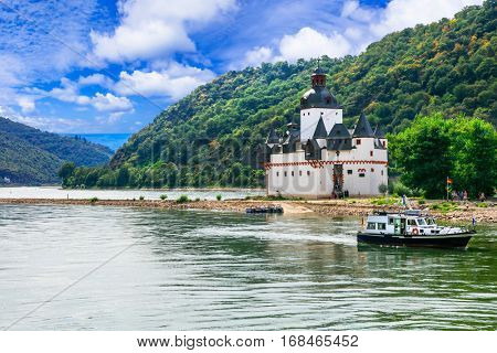Beautiful romantic castles of Rhine river -Pfalzgrafenstein in small island, Germany
