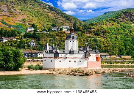 Beautiful romantic castles of Rhine river -Pfalzgrafenstein in small island. Germany