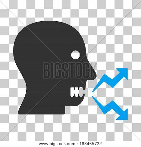Angry Person Shout icon. Vector illustration style is flat iconic bicolor symbol, blue and gray colors, transparent background. Designed for web and software interfaces.