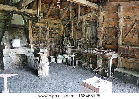 Historic Wood Workers Shop:Saugus Iron Works National Historic Site located near Boston Mass. It is the site of the first integrated ironworks in North America, in operation between 1646 and approximately 1670.