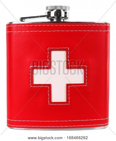 Hip flask with Swiss flag