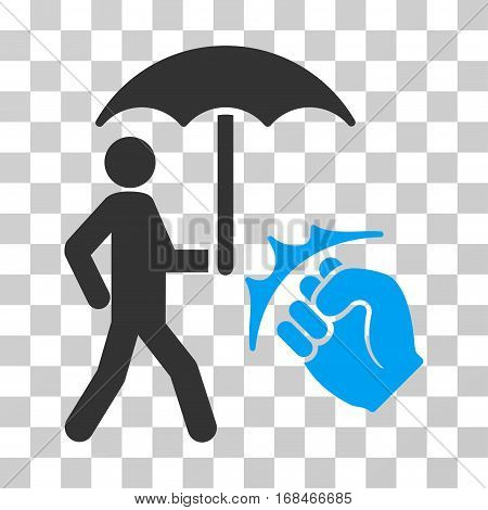 Crime Coverage icon. Vector illustration style is flat iconic bicolor symbol, blue and gray colors, transparent background. Designed for web and software interfaces.