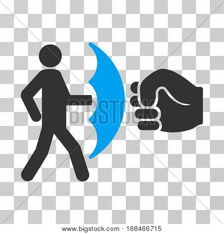 Crime Protection icon. Vector illustration style is flat iconic bicolor symbol, blue and gray colors, transparent background. Designed for web and software interfaces.