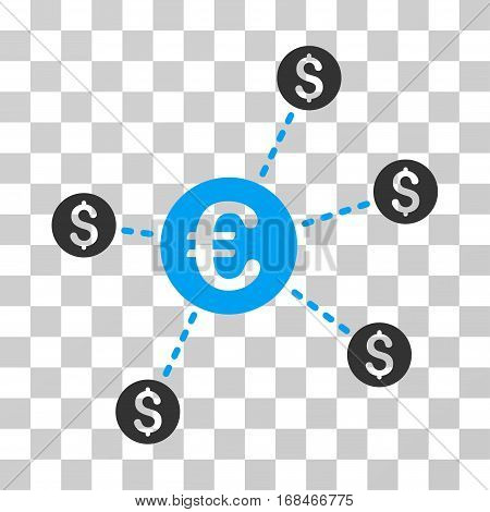 Currency Network Nodes icon. Vector illustration style is flat iconic bicolor symbol, blue and gray colors, transparent background. Designed for web and software interfaces.