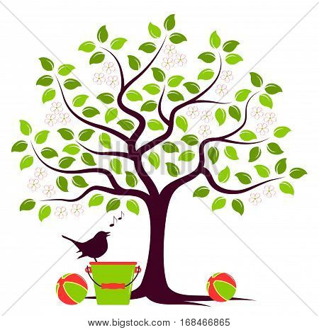 vector flowering tree with toys and singing bird isolated on white background