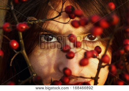 Gorgeous Stylish Beautiful Happy Brunette Girl And Red Berries Of Hawthorn On A Background Of Sunny