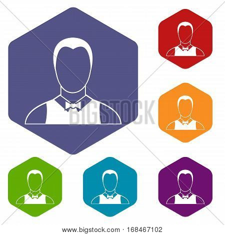 Waiter icons set rhombus in different colors isolated on white background