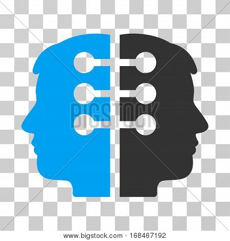 Dual Head Interface icon. Vector illustration style is flat iconic bicolor symbol, blue and gray colors, transparent background. Designed for web and software interfaces.